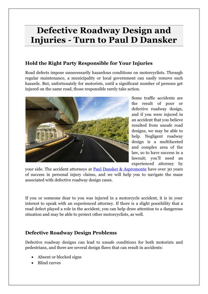 Defective Roadway Design and