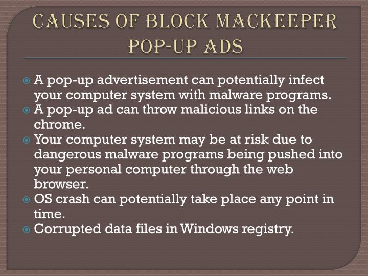 Causes of block mackeeper pop up ads
