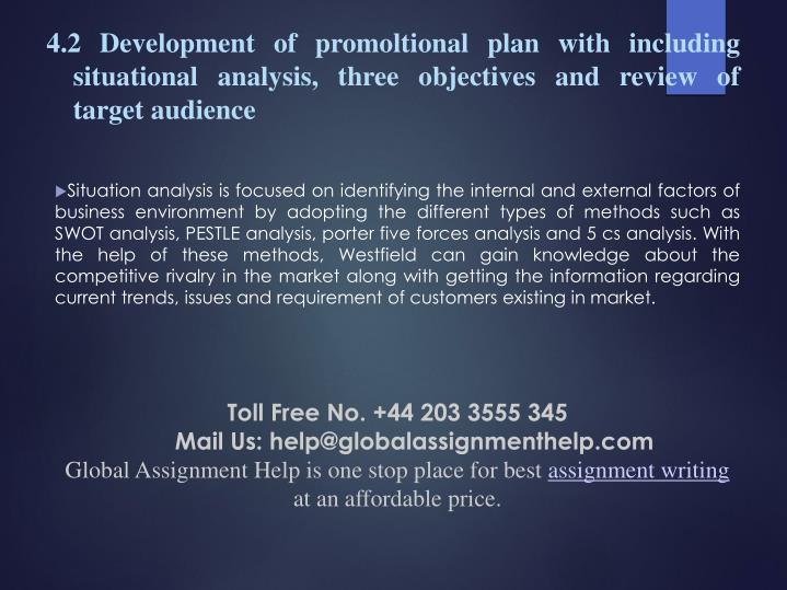 4.2 Development of promoltional plan with including situational analysis, three objectives and review of target audience