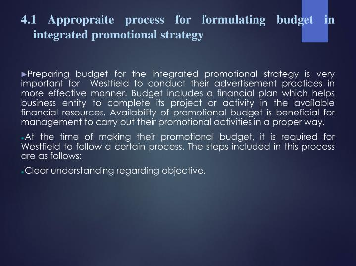 4.1 Appropraite process for formulating budget in integrated promotional strategy