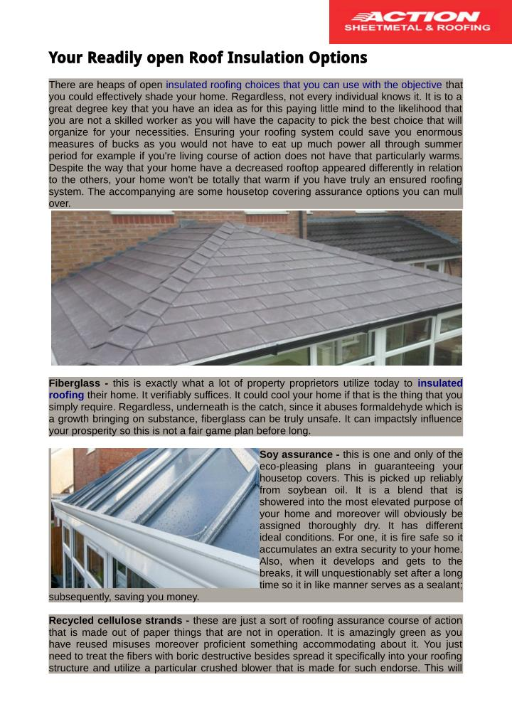 Your Readily open Roof Insulation Options