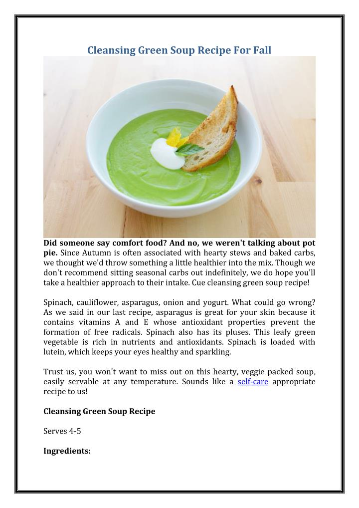 Cleansing Green Soup Recipe For Fall