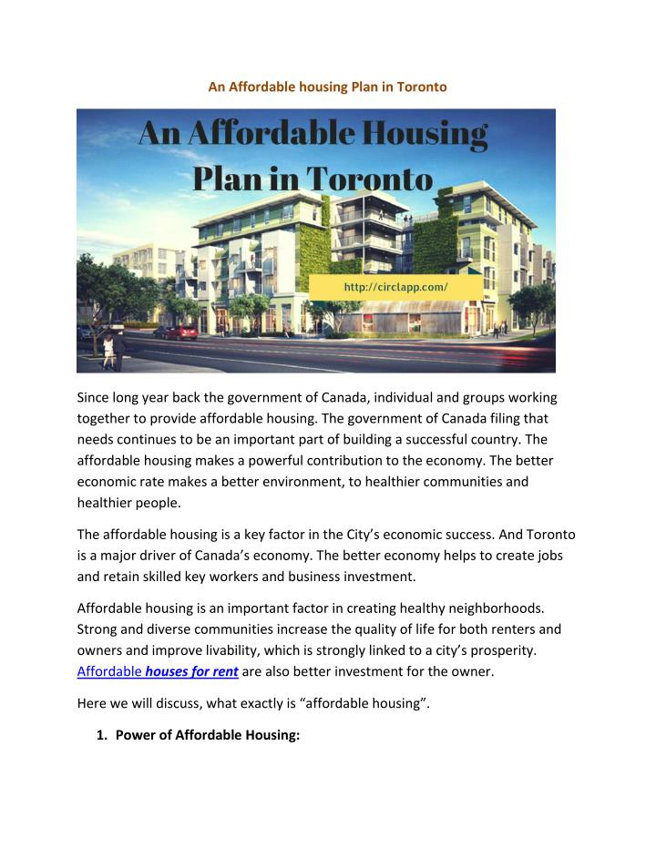An Affordable housing Plan in Toronto