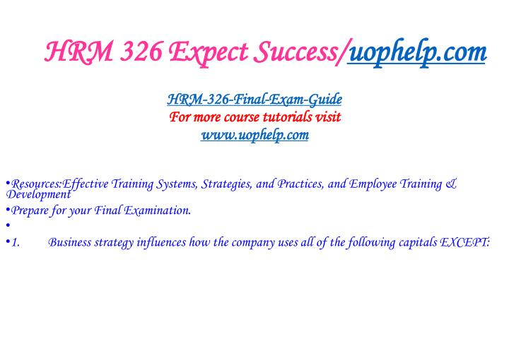 Hrm 326 expect success uophelp com2
