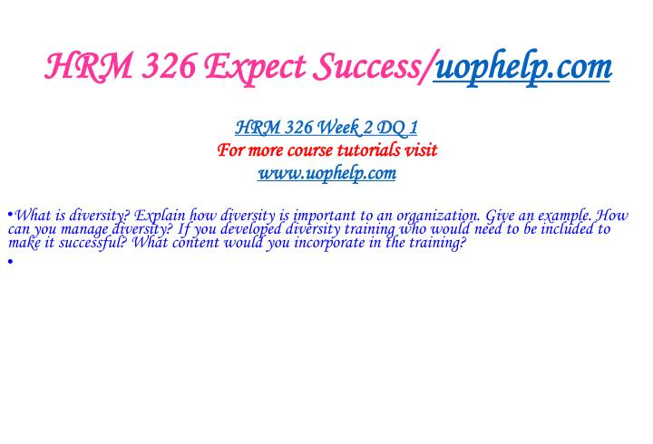 HRM 326 Expect Success/