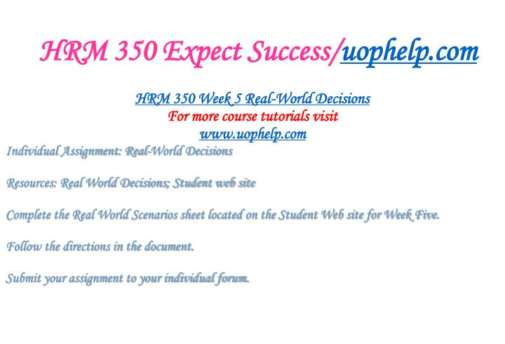 HRM 350 Expect Success/