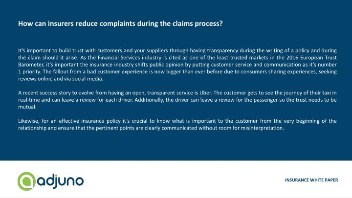 How can insurers reduce complaints during the claims process?