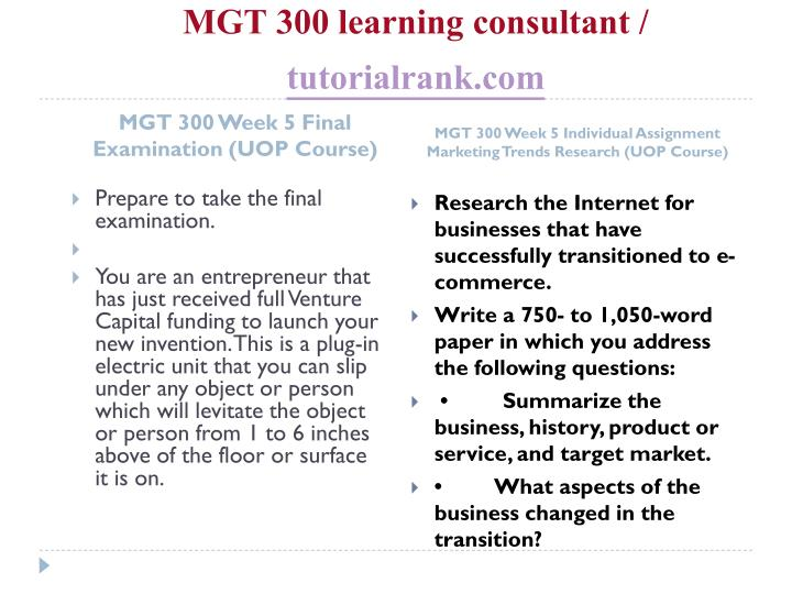 MGT 300 learning consultant /