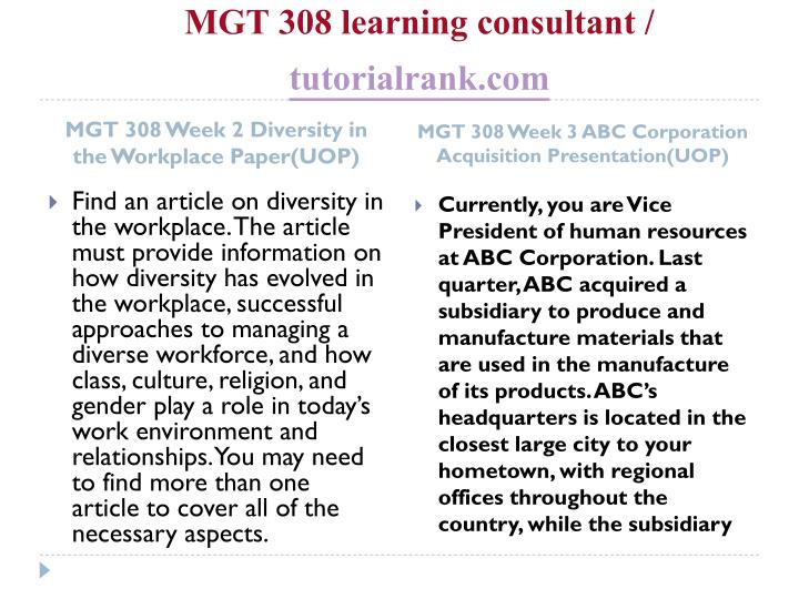 MGT 308 learning consultant /