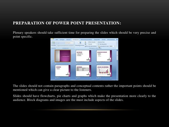 Preparation of power point presentation