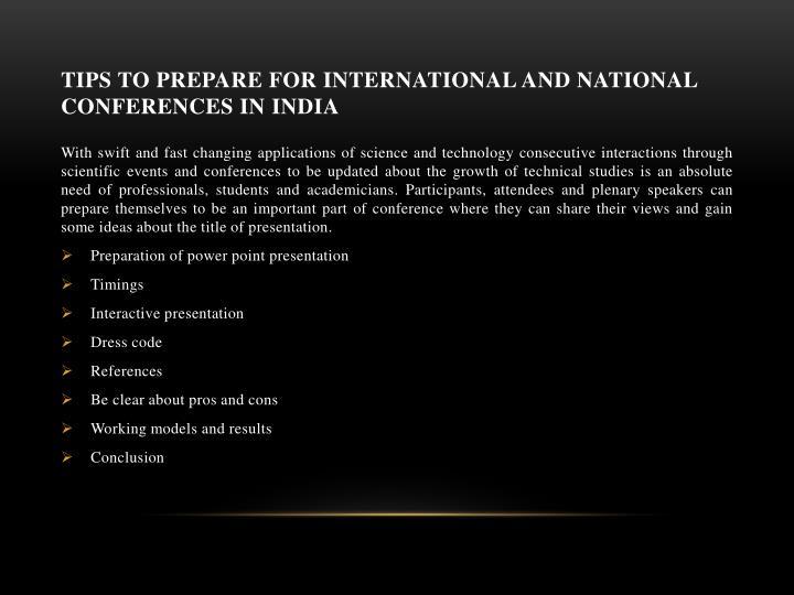 Tips to Prepare for International and National Conferences in