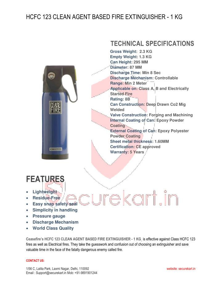 HCFC 123 CLEAN AGENT BASED FIRE EXTINGUISHER - 1 KG