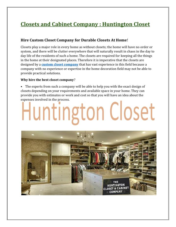 Closets and Cabinet Company : Huntington Closet