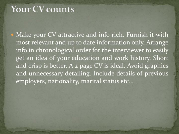Your cv counts