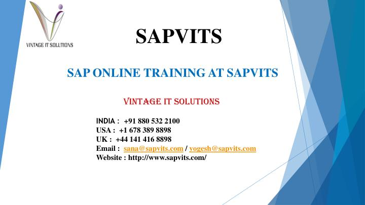 SAP ONLINE TRAINING AT SAPVITS