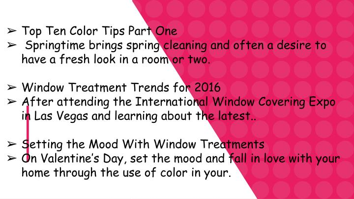 Top Ten Color Tips Part One