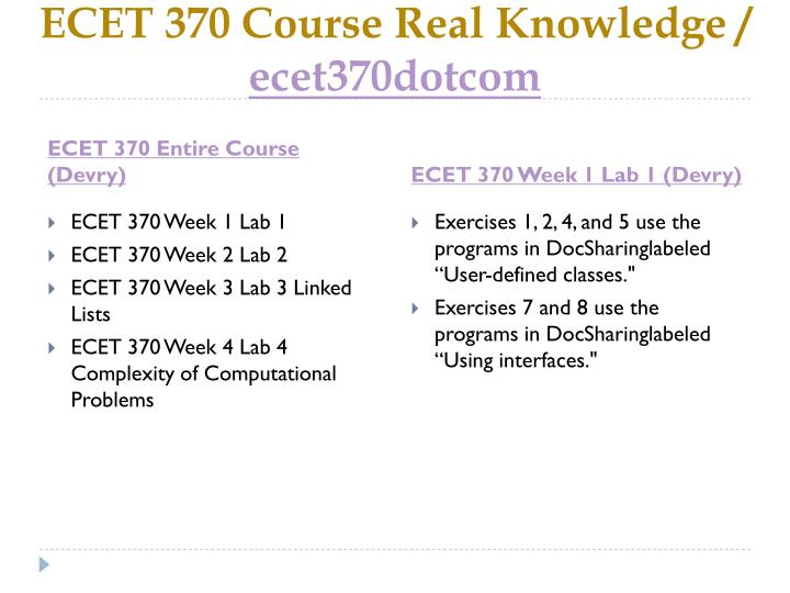 Ecet 370 course real knowledge ecet370dotcom1