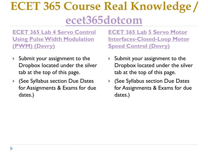 ECET 365 Course Real Knowledge /