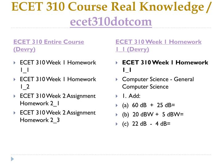Ecet 310 course real knowledge ecet310dotcom1
