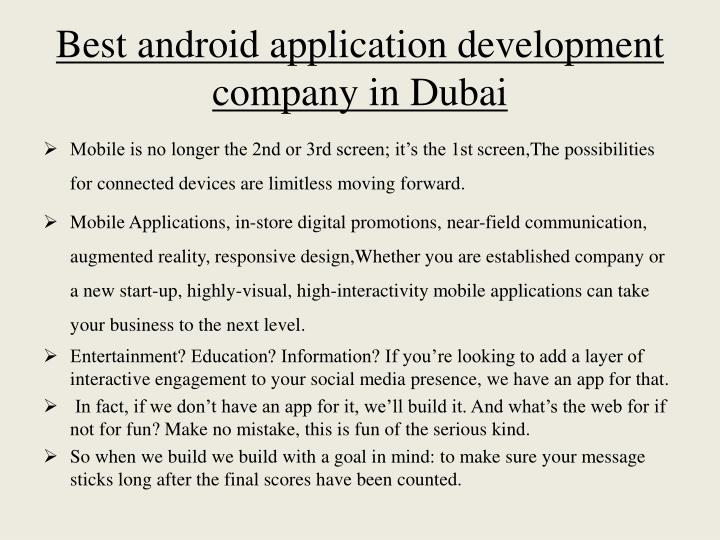 Best android application development company in d ubai