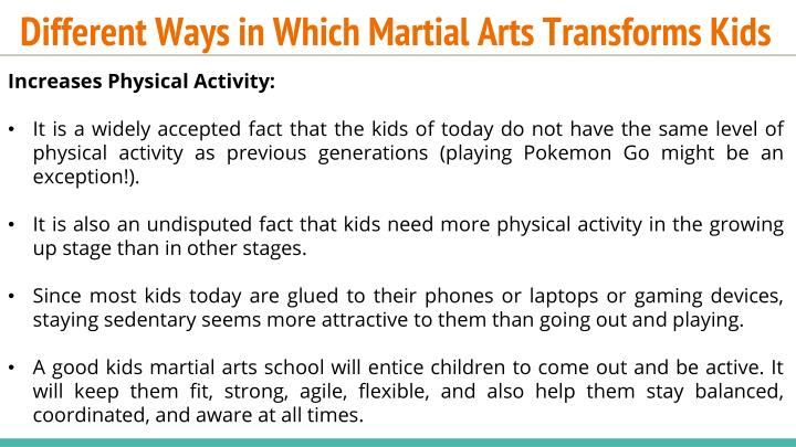 Different ways in which martial arts transforms kids