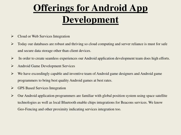 Offerings for Android App