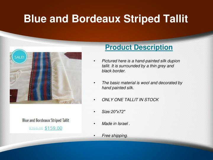 Blue and Bordeaux Striped Tallit