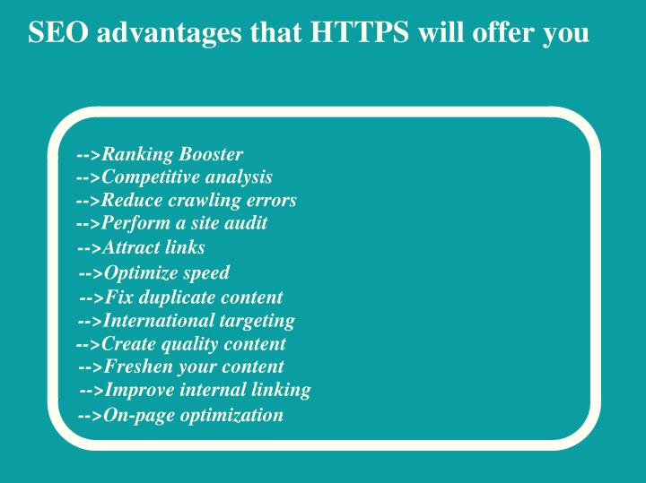 SEO advantages that HTTPS will offer you