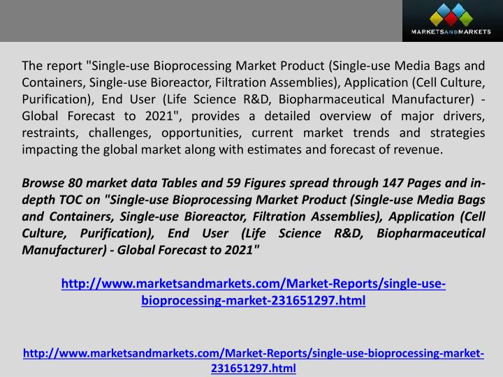 "The report ""Single-use Bioprocessing Market Product (Single-use Media Bags and Containers, Single-us..."