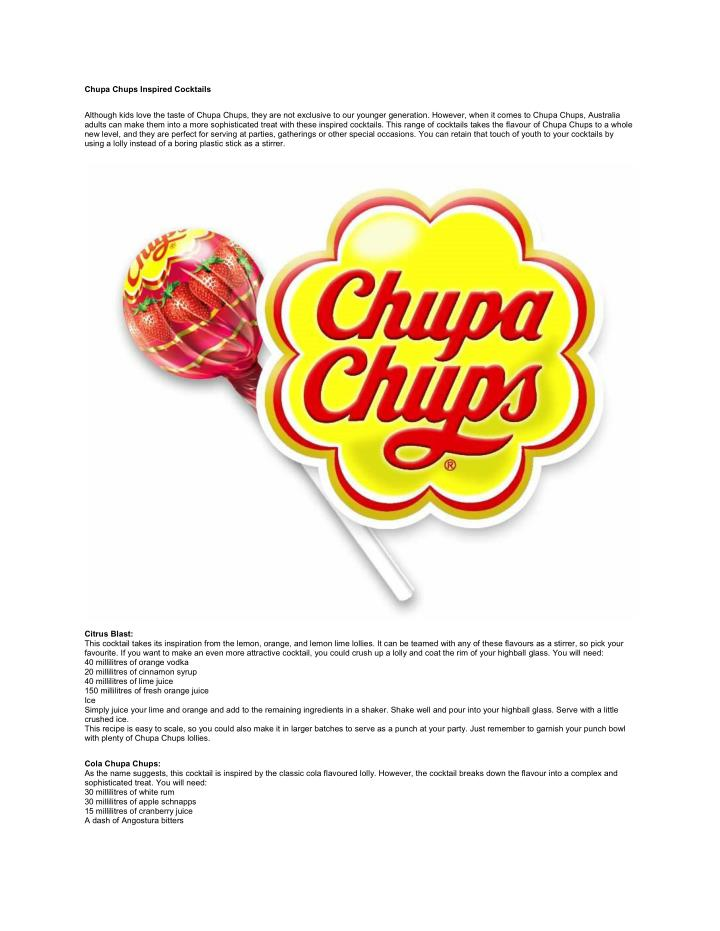 Chupa Chups Inspired Cocktails
