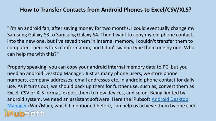 How to Transfer Contacts from Android Phones to Excel/CSV/XLS?