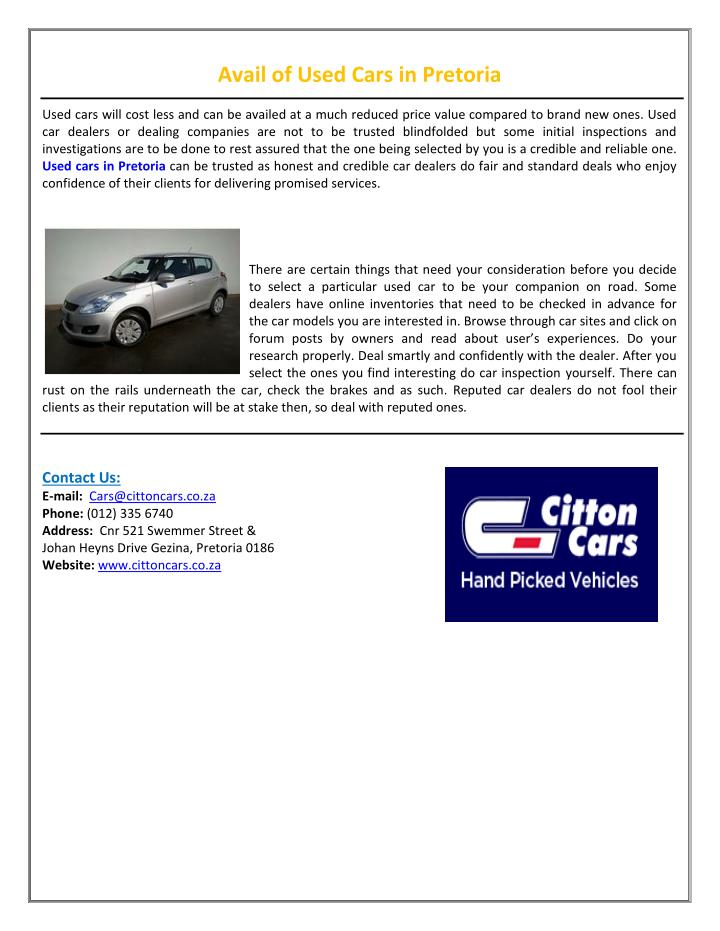 Avail of Used Cars in Pretoria
