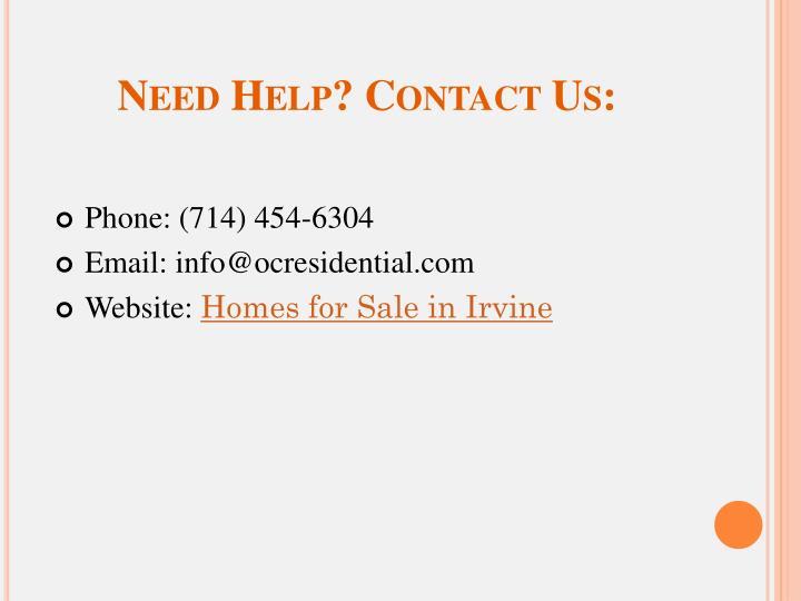 Need Help? Contact Us: