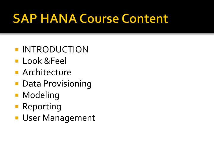 SAP HANA Course Content