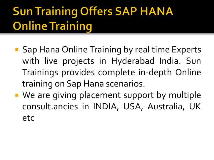 Sun Training Offers SAP HANA Online Training