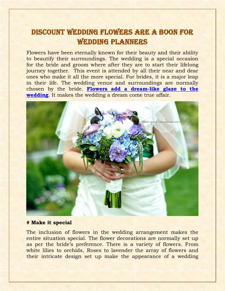 Discount Wedding Flowers are a Boon For