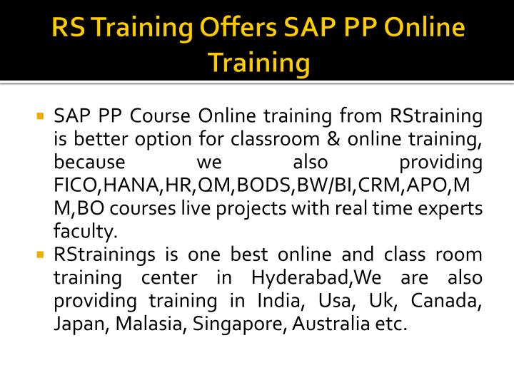 RS Training Offers SAP PP Online Training