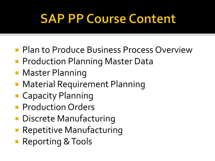 SAP PP Course Content