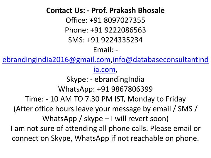 Contact Us: - Prof.