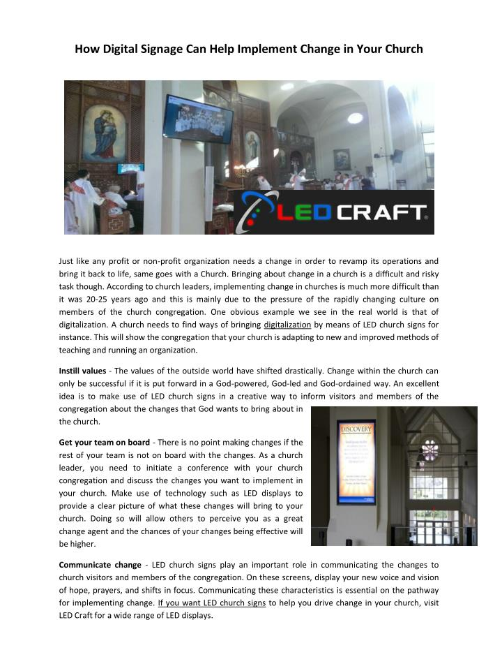 How Digital Signage Can Help Implement Change in Your Church
