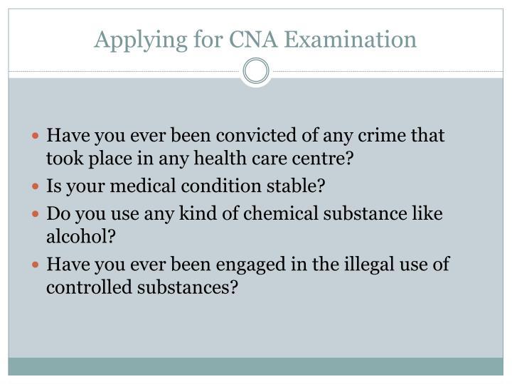 Applying for CNA Examination