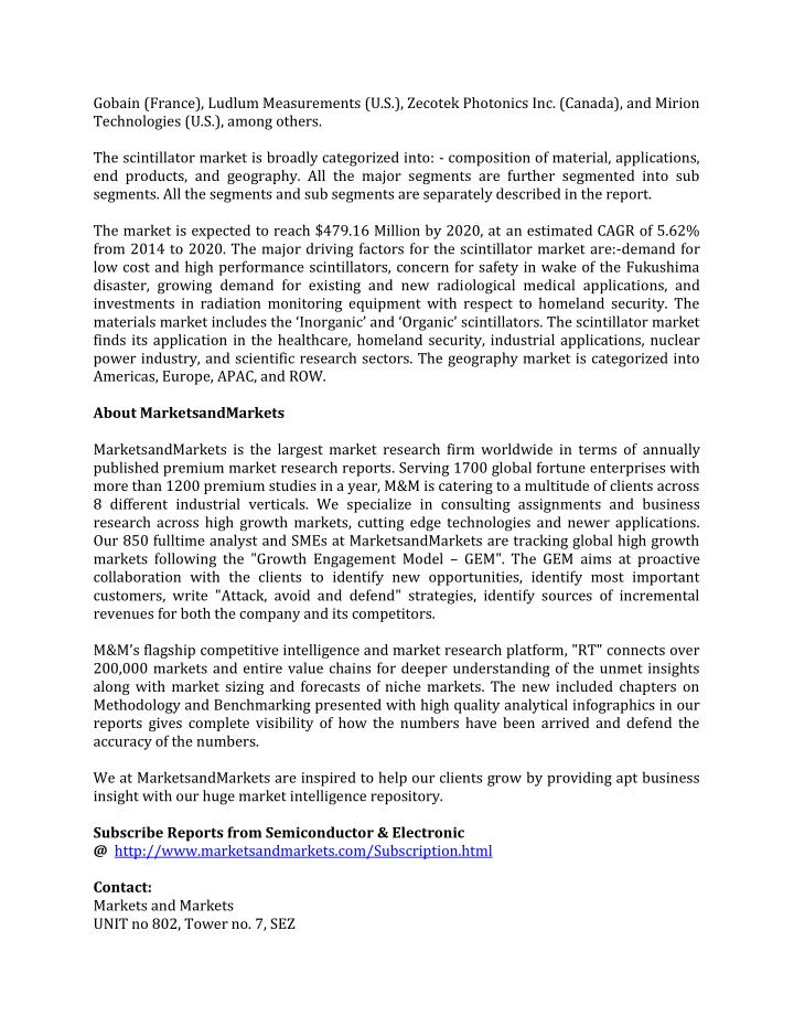 Gobain (France), Ludlum Measurements (U.S.), Zecotek Photonics Inc. (Canada), and Mirion