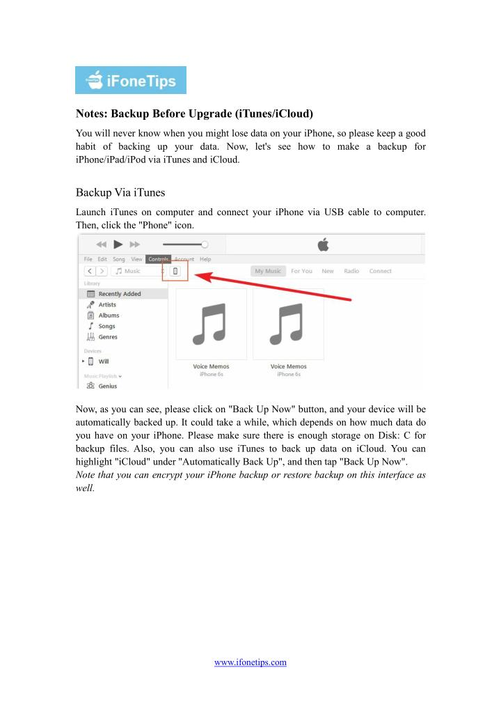Notes: Backup Before Upgrade (iTunes/iCloud)