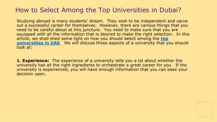 How to Select Among the Top Universities in Dubai?