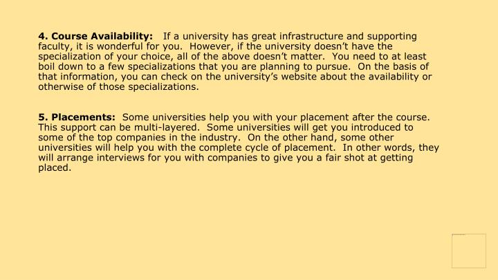 4. Course Availability: