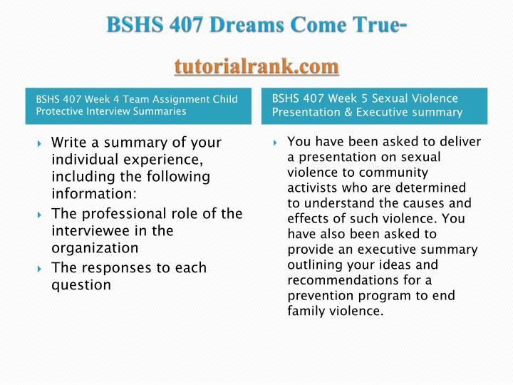 BSHS 407 Dreams Come True