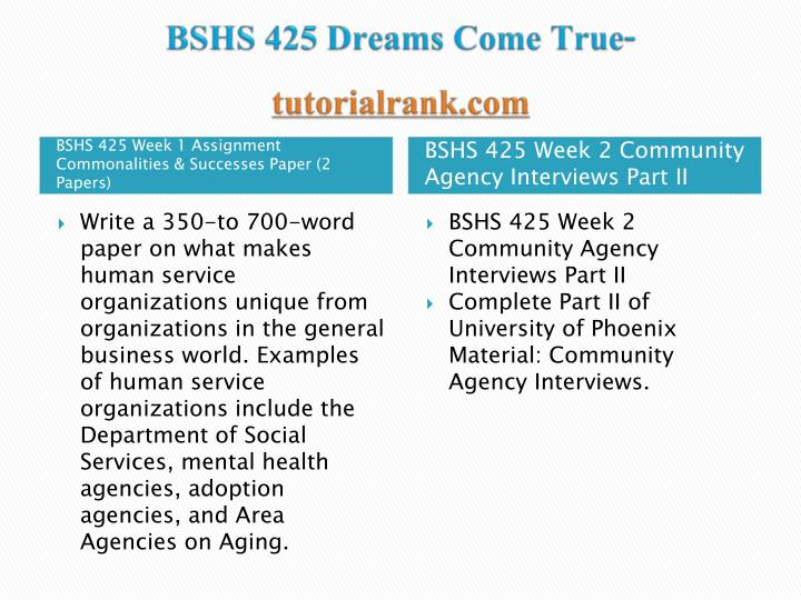 Bshs 425 dreams come true tutorialrank com1