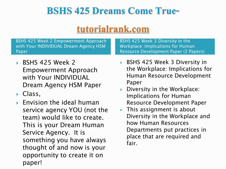 Bshs 425 dreams come true tutorialrank com2