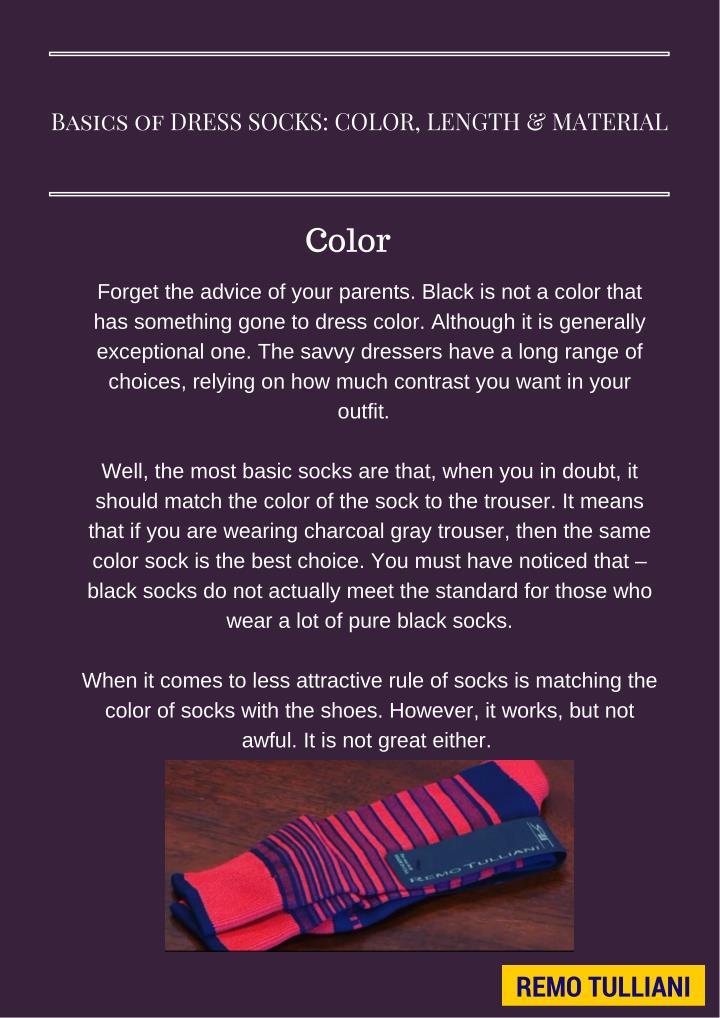 Basics of DRESS SOCKS: COLOR, LENGTH & MATERIAL