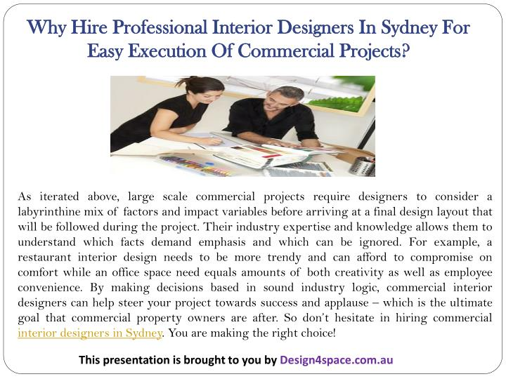 Why Hire Professional Interior Designers In Sydney For Easy Execution Of Commercial Projects?